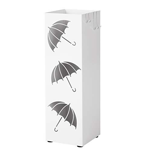 Songmics porta ombrelli in metallo, portaombrelli quadrato, con gancini e vaschetta scolapioggia rimovibile, 15,5 x 15,5 x 49 cm, bianco luc26w