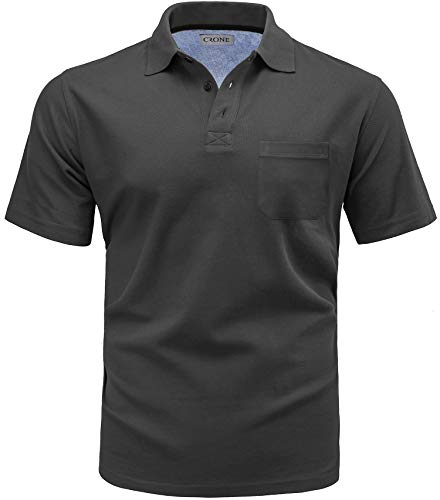 CRONE Basic Herren Pique Poloshirt Regular Fit mit Brusttasche (XL, Graphitgrau)
