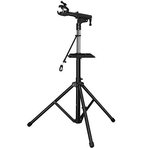 SONGMICS Schwerlast Fahrradmontageständer Reparaturständer mit große Werkzeugablage, Arm aus Aluminiumlegierung, vollen Funktionen für Fahrradreparatur SBR03B