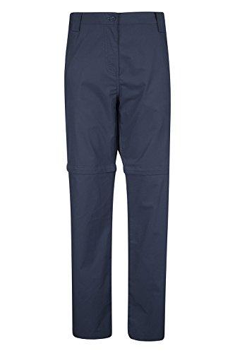 Mountain Warehouse Trek Damen Zip-Off-Hose Reißverschlusstrennung Wanderhose Multifunktionshose atmungsaktiv schnell trocknend Marineblau DE 44 (EU 46) (Atmungsaktive Hose)