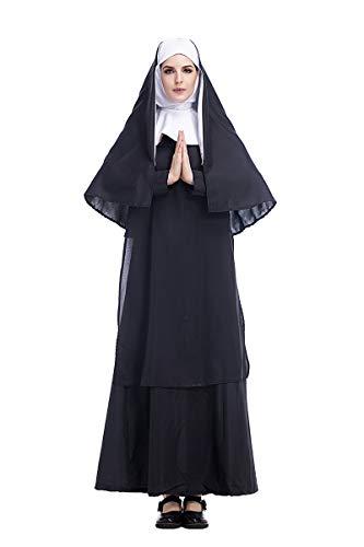 Nonne Katholische Kostüm - Fanessy. Damen Nonnen Kostüm Klosterfrau Kostüm 3-TLG. Kleid mit Kopfbedeckung und Schal Mädchen Katholische Nonne Kostüm Kinder Erwachsene Verkleidung Cosplay Outfits für Fasching Halloween Karneval
