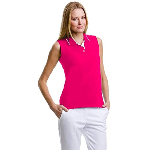 Gamergear® Damen Polo Shirt, Ärmellos (42) (Himbeere/Weiß) - Farbe-block-polo-golf-shirt