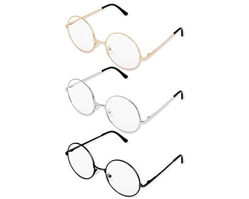 SCSpecial Metall Frame Runde Brille Retro Metall Klare Linse Brille, Unisex, Schwarz, Golden, Silbern Farbe, 3 Paar