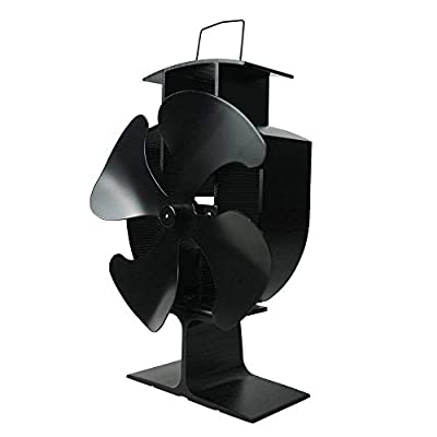 Lincsfire 4 Blades Heat Powered Stove Fan Warm Air Circulating Eco Friendly for Wood/Log Burner/Fireplace