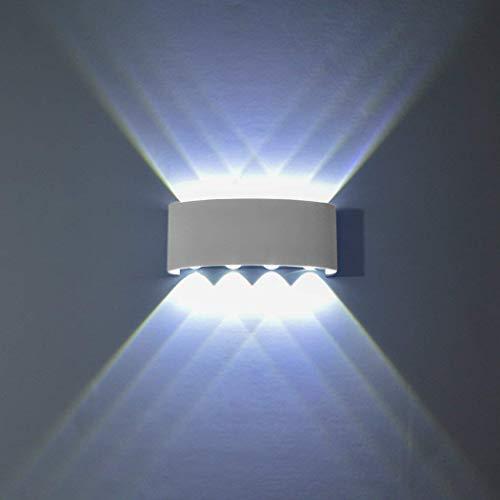 Topmo-plus Apliques de Pared Moderna Lámpara de Pared Exterior IP65 Impermeable Lámpara en Moda Agradable / Puri COB Luz de Ambiente Porche, Patio, Jardín blanco (8W Blanco frío)
