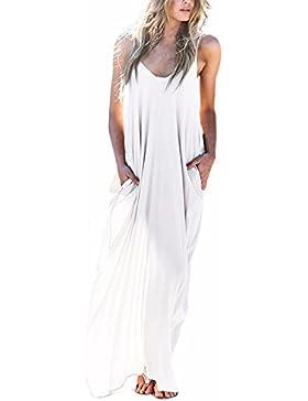 ZANZEA Donna Vestito senza Maniche Casual Elegante Abito Lungo Maxi V Collo Moda Dress Cocktail