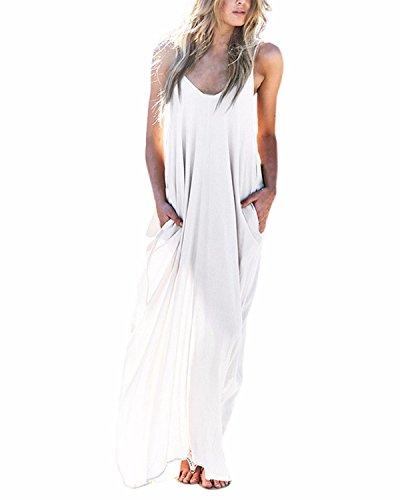 ZANZEA Mujeres Casual Playa Elegante Algodn Vestido Camiseta Largo Cuello V sin Mangas Blanco EU 4