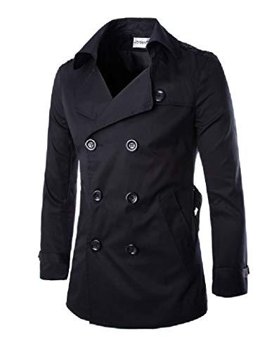 CuteRose Men's Slim Casual Jacket Business Longline Trench Leisure PEA Coat Black S Black Double-breasted Peacoat