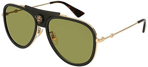 Gucci Sonnenbrillen GG0062S BLACK LEATHER GOLD/GREEN Damenbrillen