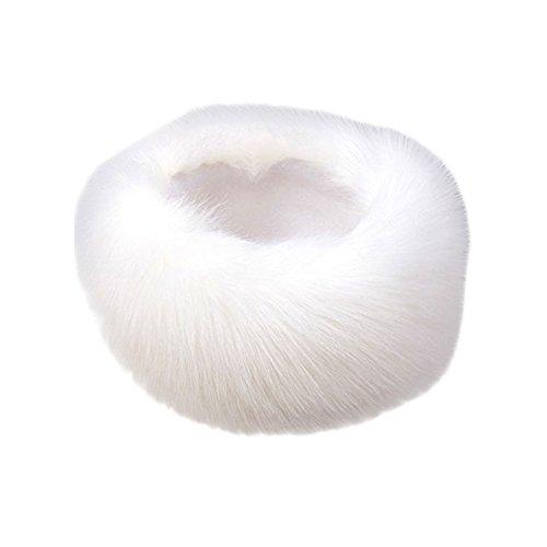 SwirlColor Russian Style Faux Fur Headband Winter Earwarmer Earmuff Hat or Fur Scarf For Women - White