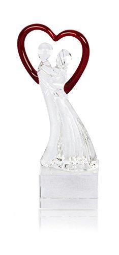levandeo Designer Glas Skulptur B x H x T: 5x15,5x5cm Hochzeit Liebe Deko Geschenk Unikat