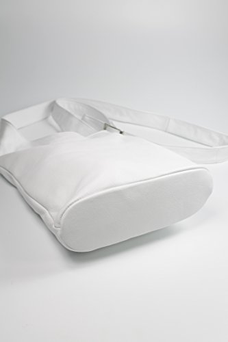 BELLI® ital. Schultertasche Cross Over Bag Nappa Leder Handtasche - Farbauswahl - 24x28x8 cm (B x H x T) Weiß