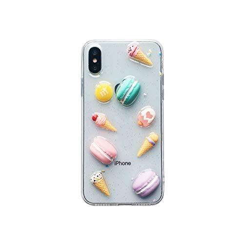hone XS, einzigartig, niedlich, bunt, 3D Süßigkeiten-Makronen-EIS, Donut mit Glitzer-Konfetti, für Mädchen und Frauen, transparent, weiche Silikonhülle ()