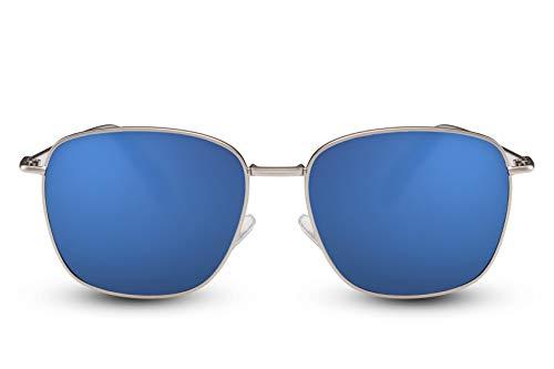 Cheapass Sonnenbrille Herren Silber Blau Verspiegelt UV400 Sport Metall Männer