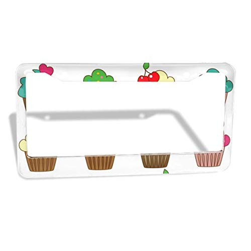 License Plate Frame in Color Cupcake Customized Aluminum License Plate Set Metal Tag Holder 12 x 6 Inch 2 Packs