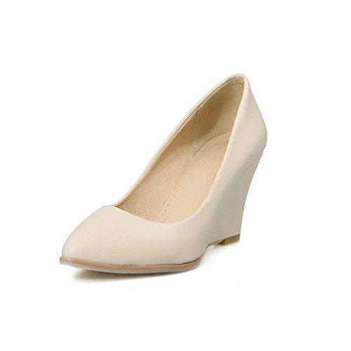 AllhqFashion Femme Pointu à Talon Haut Matière Souple Couleur Unie Tire Chaussures Légeres Beige