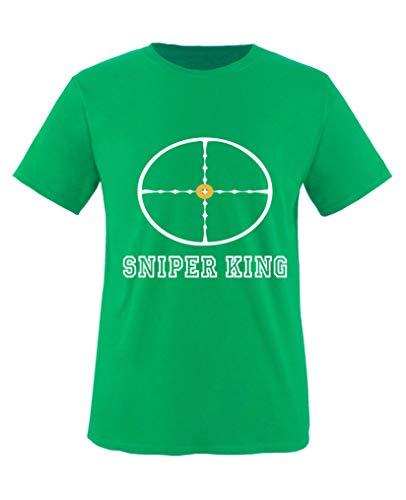 Comedy Shirts - Sniper King - Jungen T-Shirt - Grün/Weiss-Gelb Gr. 122/128 -