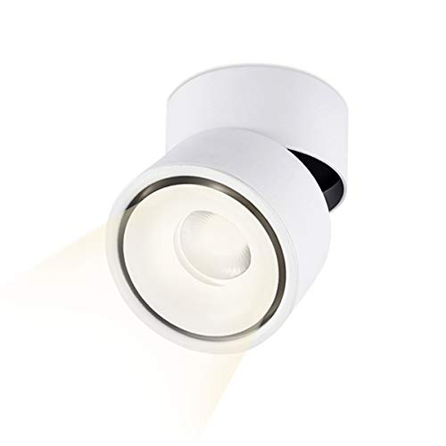 LANBOS LED Deckenaufbaustrahler wandleuchten/ 10W COB Lampe/4000K Naturmweiß / 10 * 10CM/ Aufbauleuchte/Falten Drehen Aufputz Deckenleuchte/Aluminium (Weiß+Naturmweiß)