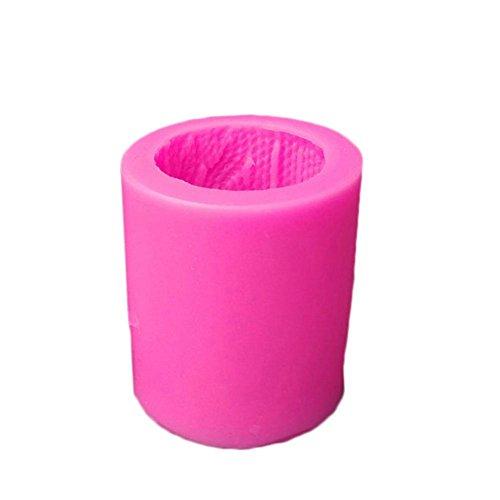 HoneybeeLY DIYMold, DIY Kerzen-Form Handwerkzeug, 3D Strickwolle, Zylinderform, Silikon, Linien, -50°C-300°C, Rosa