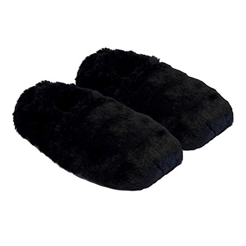 Thermo Sox aufheizbare Hausschuhe für Mikrowelle und Ofen - Mikrowellenhausschuhe Wärmepantoffeln Wärmehausschuhe Wärmeschuhe Fußwärmer Supersoft, Farbe:Schwarz, Größe:41/45 EU