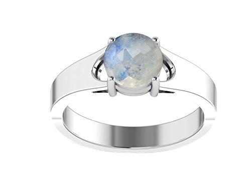 Anillo partido de plata de ley 925 con anillo de piedra lunar y piedra lunar (S)