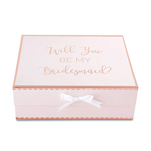 Kate Aspen 28439PK Will Will You Be My Bridesmaid Kit Gift Box Geschenkbox, light pink, rose gold Scallop Edge Top