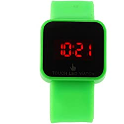Colorful Unisex LED Digital Touch Screen Silicone Wrist Watch Green