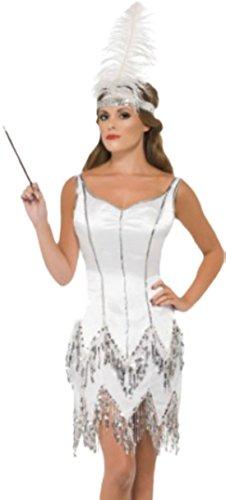 erdbeerloft - Damen 1920er Jahre Flapper Dazzle Kostüm, Karneval, Fasching, 36, Weiß (1920er Jahren Flapper Kostüm Amazon)