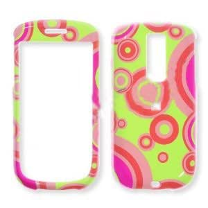 HTC G2 Pink Circles on Lime Green Hard Case, Snap On Cover