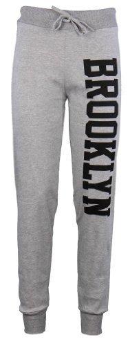 Jogginghose Damen Brooklyn Jogger Fitness Hose Trainingshose Unterteil Größe 36 bis 42 - S/M (36-38), Grau (Angebote Top)