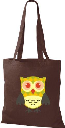 Stoffbeutel Bunte Eule niedliche Tragetasche mit Punkte Karos streifen Owl Retro diverse Farbe braun