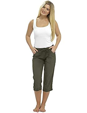 CityComfort Ladies Lino Pantalones Casual Holiday Elasticated Waist Womens Summer Pantalones Pantalones Cortos...