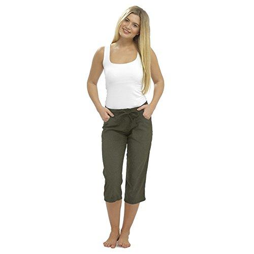 Damen Leinen Freizeithosen Urlaub elastische Taille Damen Sommer Hosen Hosen Shorts beschnitten mit Taschen (22, khaki zugeschnitten 3/4) -