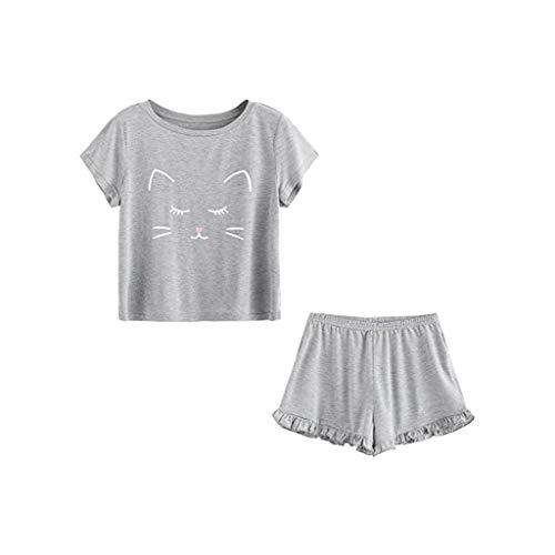 MIRRAY Damen Katze Gedruckt Nachtwäsche Shirts Kurzarm Rüschen T-Shirt Negligee Nachthemd Set (Grau,L)