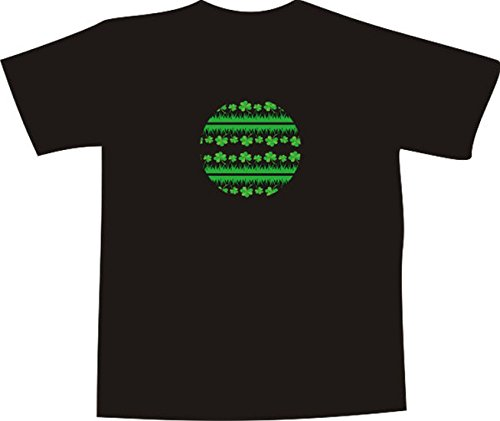 T-Shirt E176 Schönes T-Shirt mit farbigem Brustaufdruck - Logo / Grafik - minimalistisches Motiv - Gras und Blätter im Kreis Schwarz