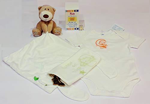 Cofanetto regalo neonato: morbidissimo'doudou' di conforto, body con bavaglino ricamati, Trudi Baby Care Olio Nutriente, ciondolo ricordo orsetto in legno (0-3 mesi (54-60 cm))