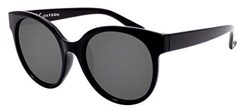 La Optica B.L.M. UV 400 CAT 3 Unisex Damen Frauen Sonnenbrille Rund Groß - Einzelpack Glänzend Schwarz (Gläser: POLARISIERT Grau)_LO14 P B-Grey