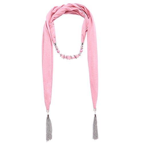 hemia Stil Metall Wraped Schal with Fringe Harz Beads Halskette (01003028) (Rosa) ()