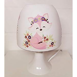 ✿ Tischlampe ✿ Fuchs Fox rosa Schmetterling Sterne personalisiert Name ✿ Tischleuchte ✿ Schlummerlicht ✿ Nachttischlampe ✿ Lampe ✿