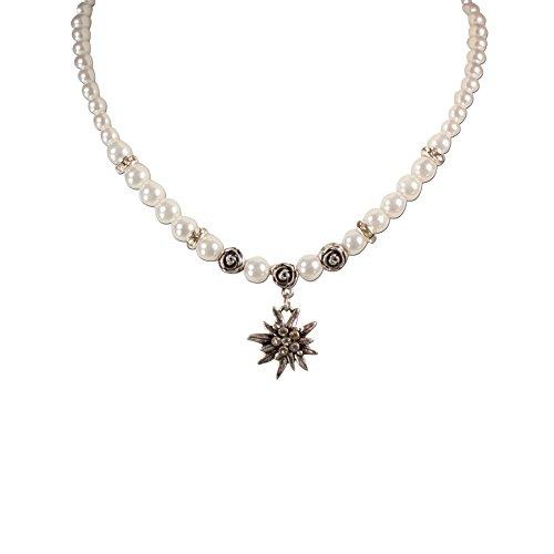 Trachtenschmuck * Trachtenkette Perlen & Strass-Edelweiß klein * Damen Dirndlkette * Perlenkette Oktoberfest Dirndl-Schmuck (Creme-weiß)