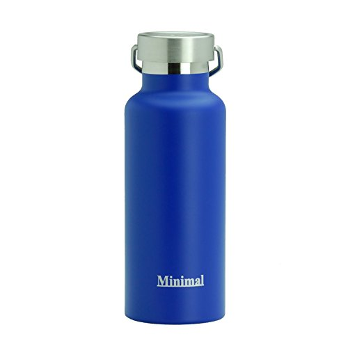 Minimal Stainless Steel Double Wall Insulated Water Flask Bottle - 17oz Blue - 18/8 Stainless Steel Double Wall Vacuum Insulated with Copper Coating. All Metal Construction & BPA Free Stainless Steel Double Wall Ice