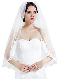 Accessori da Sposa Velo da Sposa in Pizzo Paillettes di Velo di Pizzo Pettinato JFSKD Velo da Sposa