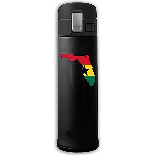 Edelstahl-Saugflasche Florida Map Ghana Flag Sports Trinkflasche mit Bounce Cover Schwarz