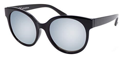 La Optica B.L.M. UV 400 CAT 3 Unisex Damen Frauen Sonnenbrille Rund Groß - Einzelpack Glänzend Schwarz (Gläser: Silber verspiegelt)_LO14 B-Silver