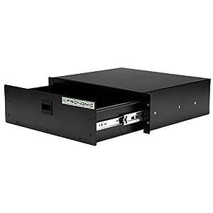 Pronomic RD-103 - Cassetto da trasporto per accessori musicali, 3 HE, con chiusura a scatto, in lamiera, da incassare in scaffali da 48,26 cm, colore nero