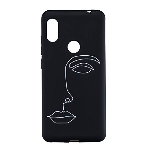 CUAgain Coque Xiaomi Redmi Note 6 Pro Silicone Motif Drôle Noir Simple Antichoc Ultra Fine Design Étui Redmi Note 6 Pro Bumper Case Cover Housse pour Femme Fille Homme,Visag