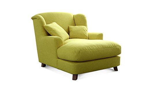 CAVADORE XXL-Sessel Assado/Großer Polstersessel in grün mit Holzfüßen, großer Sitzfläche, Polsterung und 2 weichen Zierkissen/109x104x145...