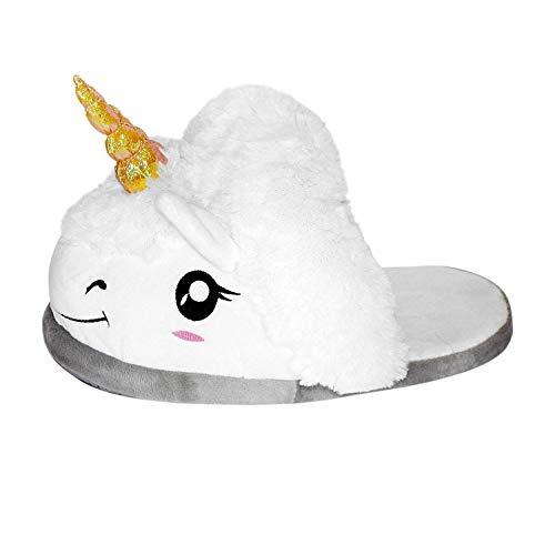 Pantofole unicorno unisex-adulto peluche animali halloween cosplay magico taglia regali di festa (bianco)