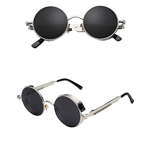 SCEMARK Herren Damen Outdoor Sonnenbrillen Runder quadratischer Weinlese widergespiegelter Eyewear Sports Glasse Brille Metallrahmen Brillengestelle Brille