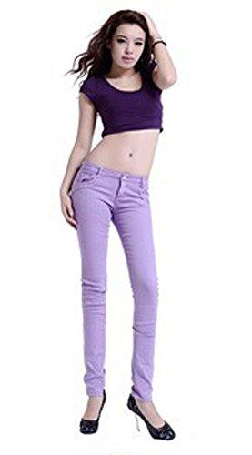 Shanel Damen Skinny Hose Baumwolle Stretch Jeggings Stil Leggings Sexy Jeans Violett